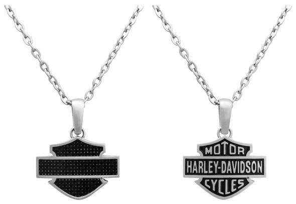 Harley-Davidson Mens Necklace, Steel & Carbon Fiber Bar & Shield Logo HSN0006-22 - Wisconsin Harley-Davidson