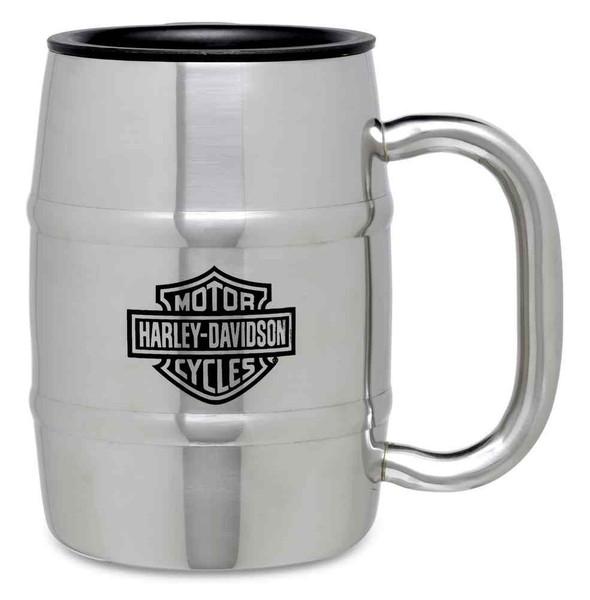 Harley-Davidson Stainless Steel Barrel Coffee Travel Mug 17 oz Silver. 99203-16V - Wisconsin Harley-Davidson