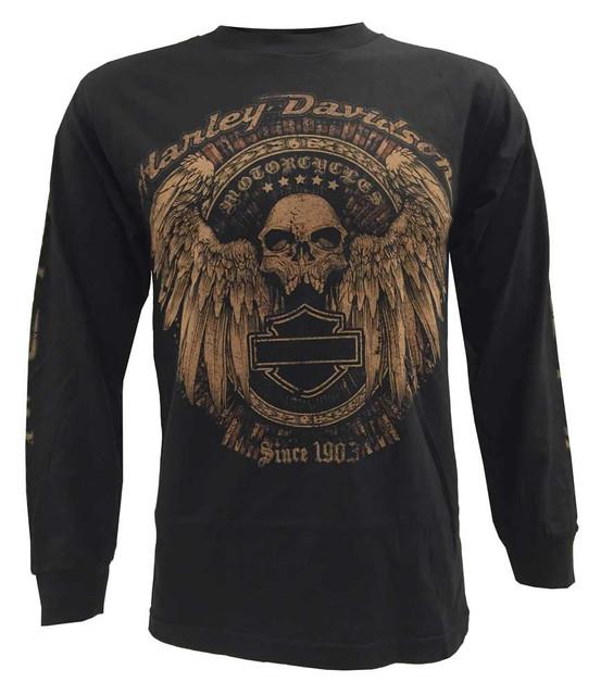 Harley-Davidson Men's Long Sleeve Shirt, Rockwell Edgy Winged Skull, Black - Wisconsin Harley-Davidson