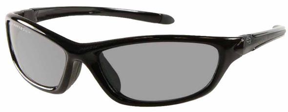 Harley-Davidson Mens Kickstart Sunglasses Shiny Black Dark Grey Lens HDV008BLK-3 - Wisconsin Harley-Davidson