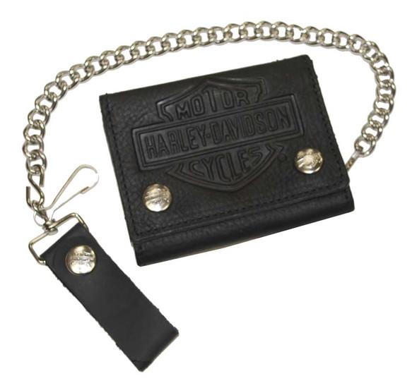 Harley-Davidson Men's Bar & Shield Tri-Fold Biker Chain Wallet Black TC315H - Wisconsin Harley-Davidson