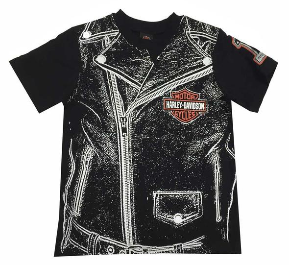 Harley-Davidson Big Boys' Jersey Zipper Graphic T-Shirt Tee, Black 1092531 - Wisconsin Harley-Davidson