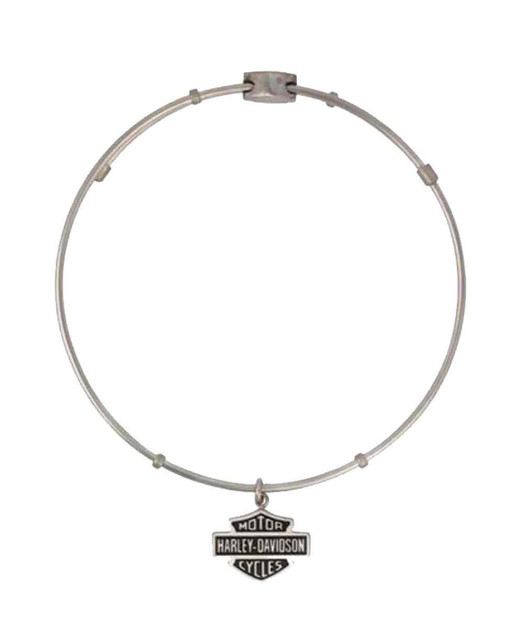 Harley-Davidson Women's Bangle, Bar & Shield Dangle Bracelet, Silver HSB0017-7 - Wisconsin Harley-Davidson