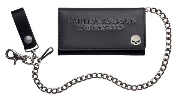 Harley-Davidson Men's Debossed Tri-Fold Deluxe Biker Wallet, Black 99443-16VM - Wisconsin Harley-Davidson