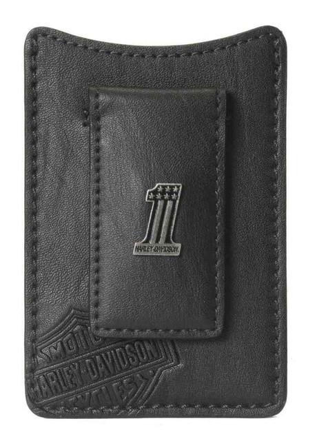 Harley-Davidson Men's Front Pocket Wallet, #1 Medallion, Black CR2367L-Black - Wisconsin Harley-Davidson