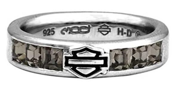 Harley-Davidson Women's Ring, Black Ice Crystals Bar & Shield Band HDR0360 - Wisconsin Harley-Davidson