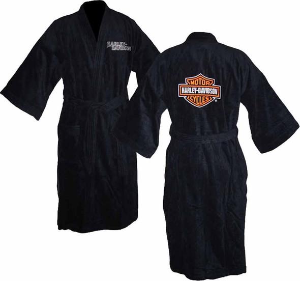 Harley Davidson Unisex Black Kimono Robe Bathrobe 87158 - Wisconsin Harley-Davidson