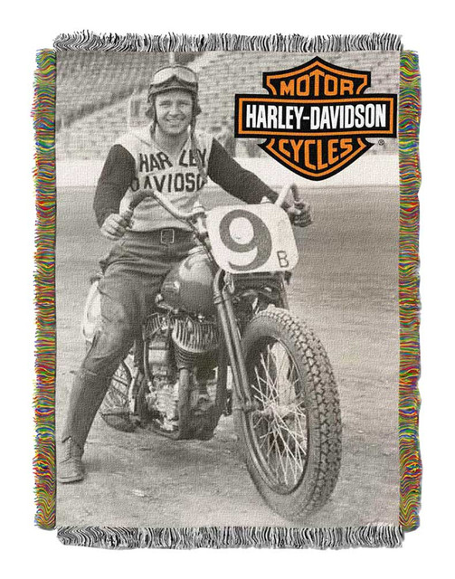 Harley-Davidson Race Time Tapestry Throw Blanket, 48 x 60 inch NW282841 - Wisconsin Harley-Davidson