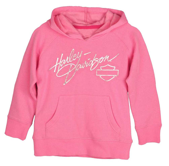 Harley-Davidson Little Girls' Bling Foil Rhinestone Fleece Hoodie Pink 0131102 - Wisconsin Harley-Davidson
