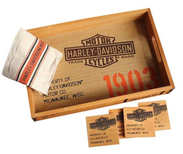 Harley-Davidson 1903 Serving Tray Gift Set - Tray, Coasters & Towel HDL-18530 - Wisconsin Harley-Davidson