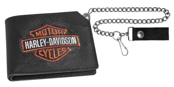 Harley-Davidson Men's Embroidered B&S Trucker Short Biker Wallet, XML4341-ORGBLK - Wisconsin Harley-Davidson