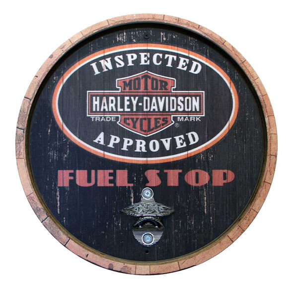 Harley-Davidson 15 In Round Fuel Stop Bottle Opener Wooden Sign CU118B-BO-CCGPX6 - Wisconsin Harley-Davidson