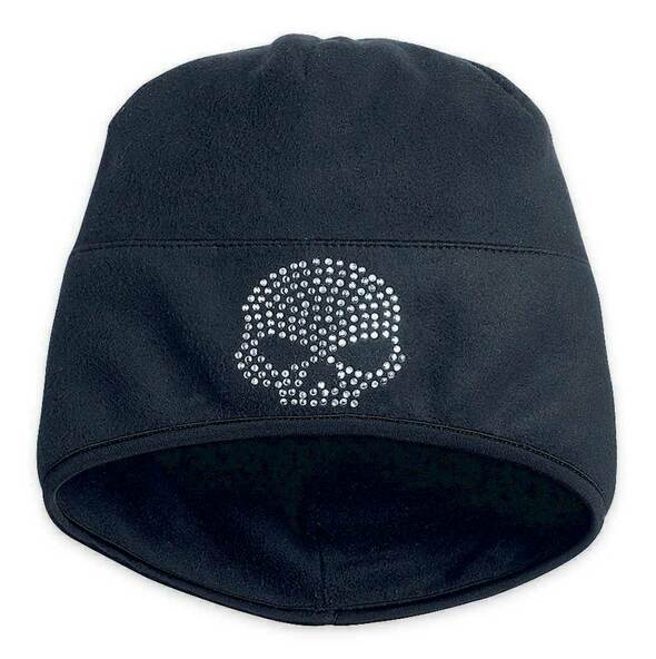 Harley-Davidson Women's Bling Skull Wind-Resistant Fleece Hat, Black 99448-13VW - Wisconsin Harley-Davidson