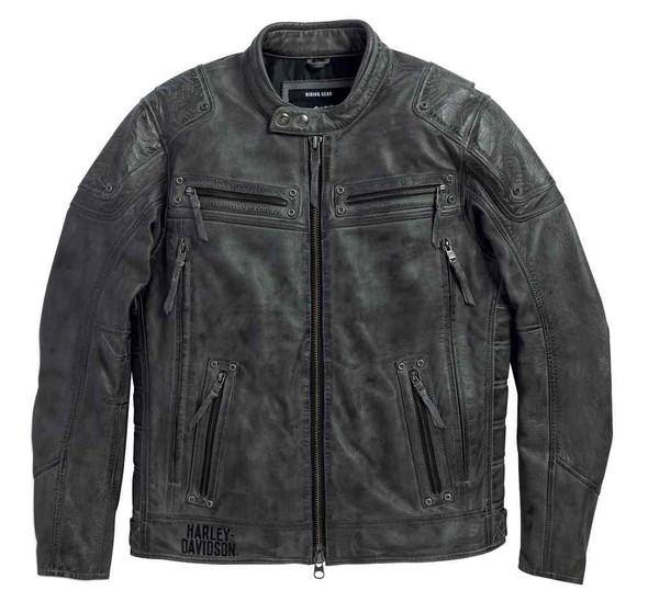 Harley-Davidson Men's Carboy Leather Jacket Multi Pocket, Charcoal 97105-16VM - Wisconsin Harley-Davidson