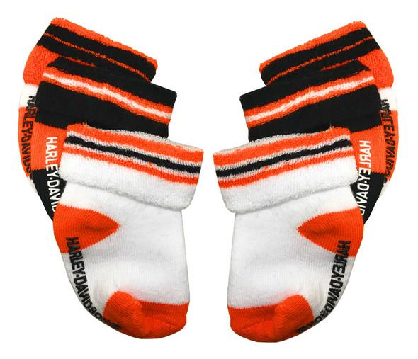 Harley-Davidson Baby Boys' Socks, Three Pack, Orange/Black/White S9ABI63HD - Wisconsin Harley-Davidson