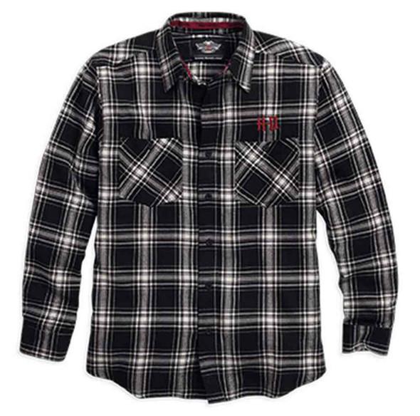 Harley-Davidson Men's Cotton Flannel Plaid Shirt, Black/White. 96057-16VM - Wisconsin Harley-Davidson