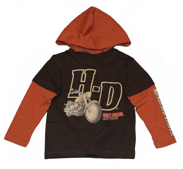 Harley-Davidson Little Boys' Long Sleeve Shirt, H-D Brown & Burnt Orange 3281344 - Wisconsin Harley-Davidson