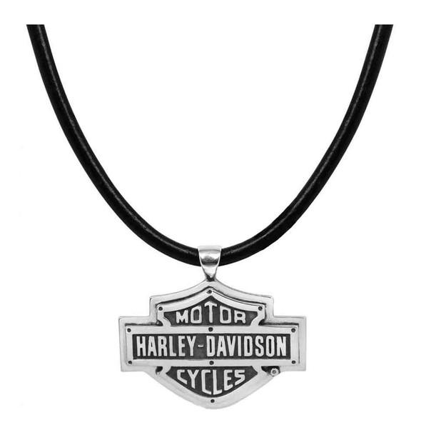 Harley-Davidson Men's Necklace, Rivets Bar & Shield Logo, Leather Cord HDN0318 - Wisconsin Harley-Davidson