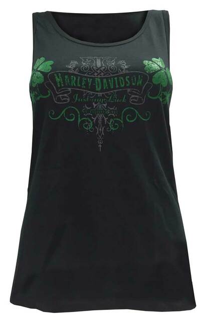 Harley-Davidson Women's Tank Top, Just My Luck St. Patty's Day Graphic, Black - Wisconsin Harley-Davidson