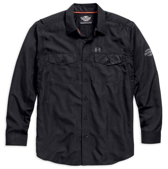 Harley-Davidson Long Sleeve Performance Button Front Shirt, Black. 99018-15VM - Wisconsin Harley-Davidson