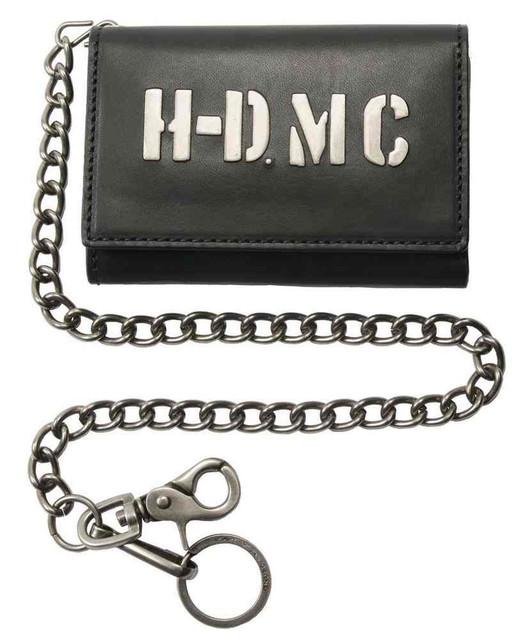 Harley-Davidson Men's HDMC Embedded Biker Tri-Fold Medium Wallet MC8576L-BLK - Wisconsin Harley-Davidson
