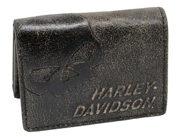 Harley-Davidson Men's Burnished Tri-Fold Skull Wallet Leather BM2647L-TanBlk - Wisconsin Harley-Davidson