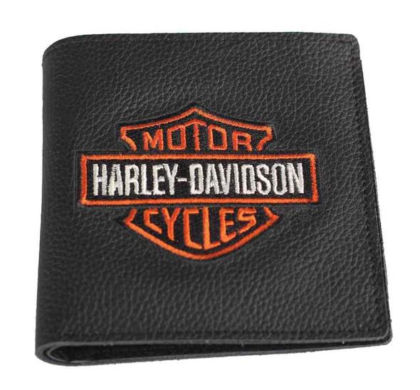 Harley-Davidson Men's Embroidered B&S Tall Bi-Fold Wallet, XML4352-ORGBLK - Wisconsin Harley-Davidson