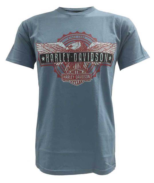 Harley-Davidson Men's Short Sleeve T-Shirt, Patriotic Eagle Bar Graphic, Blue - Wisconsin Harley-Davidson