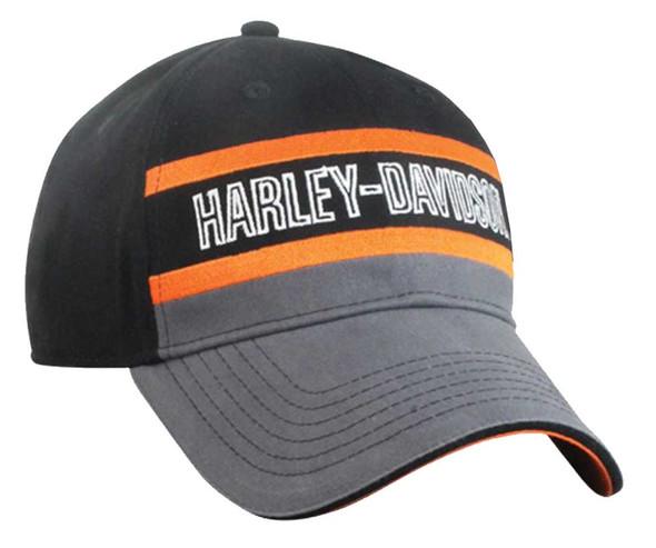 Harley-Davidson Mens Colorblocked Stripe Baseball Cap Black/Gray/Orange BCC51690 - Wisconsin Harley-Davidson