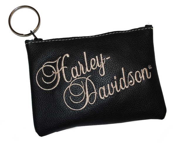 Harley-Davidson Women's Black Leather Embroidered Script Coin Purse CP13H - Wisconsin Harley-Davidson