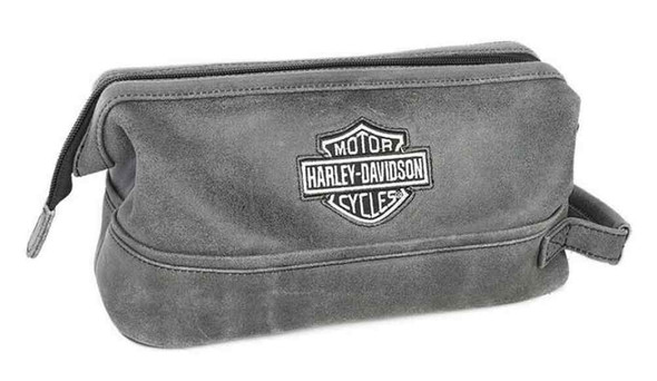 Harley-Davidson Bar & Shield Distressed Leather Toiletry Kit, Gray 99609-GRY - Wisconsin Harley-Davidson