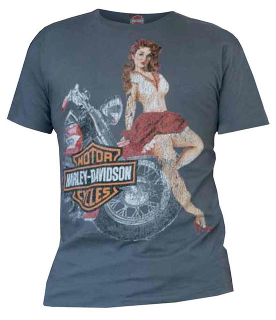 Harley-Davidson Men's H-D Wheel Babe Poster Graphic Short Sleeve Tee, Gray - Wisconsin Harley-Davidson