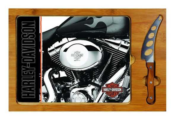 Harley-Davidson Cutting Board, Icon Engine Print Glass/Wood Board 910-00-014 - Wisconsin Harley-Davidson
