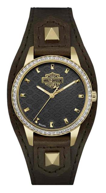 Harley-Davidson Women's Crystal Embellished Shaped Cuff Watch, Brown/Gold 77L105 - Wisconsin Harley-Davidson
