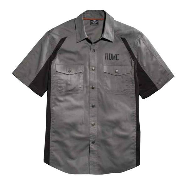 Harley-Davidson Men's Colorblocked Mesh Panel Woven Shirt, Gray 96003-16VM - Wisconsin Harley-Davidson