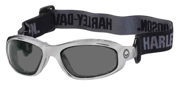 Harley-Davidson Men's Performance Glide Goggles, Shiny Silver Frame & Gray Lens - Wisconsin Harley-Davidson
