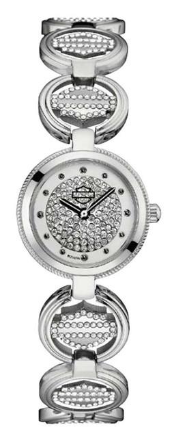 Harley-Davidson Women's Crystal Coin Link Bar & Shield Watch, Silver 76L179 - Wisconsin Harley-Davidson