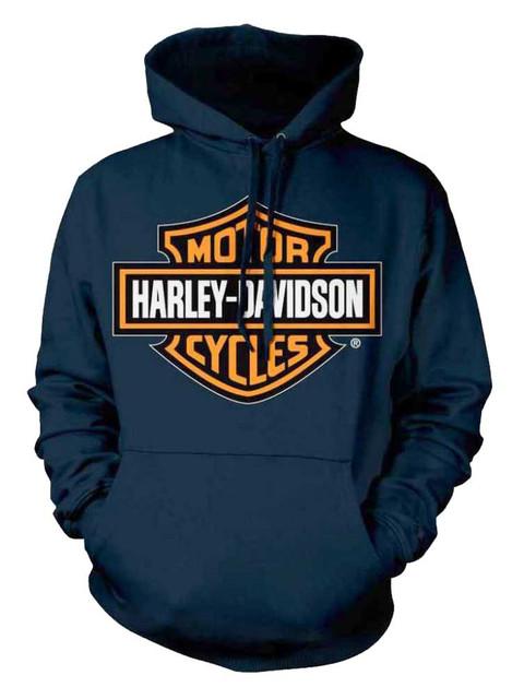Harley-Davidson Men's Orange Bar & Shield Navy Pullover Sweatshirt 30291742 - Wisconsin Harley-Davidson