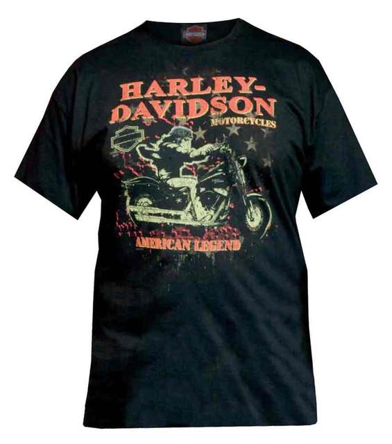 Harley-Davidson Men's T-Shirt, Distressed Night Rider Short Sleeve Tee, Black - Wisconsin Harley-Davidson
