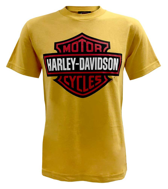 Harley-Davidson Men's T-Shirt, Red Bar & Shield Short Sleeve, Mustard Yellow Tee - Wisconsin Harley-Davidson