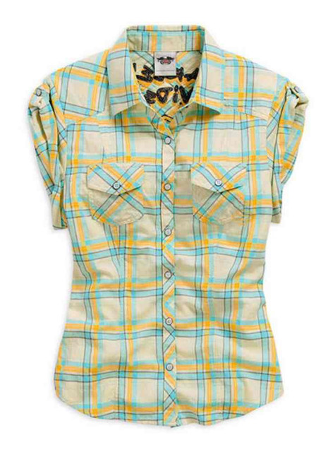 Harley-Davidson Women's Woven Shirt, Butterfly Plaid Short Sleeve Tee 96035-15VW - Wisconsin Harley-Davidson