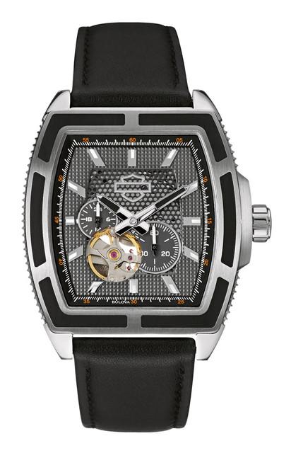 Harley-Davidson Men's Bulova Watch, Mechanical Open Aperture, Black Strap 76A150 - Wisconsin Harley-Davidson