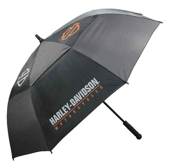 Harley-Davidson Bar & Shield HD Script Golf Umbrella, Black & Charcoal UMB516804 - Wisconsin Harley-Davidson