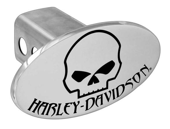 Harley-Davidson Chrome Engraved Oval Willie G Skull Hitch Cover, 2 inch HDHC180 - Wisconsin Harley-Davidson