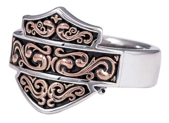 Harley-Davidson Women's Herald Bar & Shield Ring w/ Rose Gold Plating HDR0398 - Wisconsin Harley-Davidson