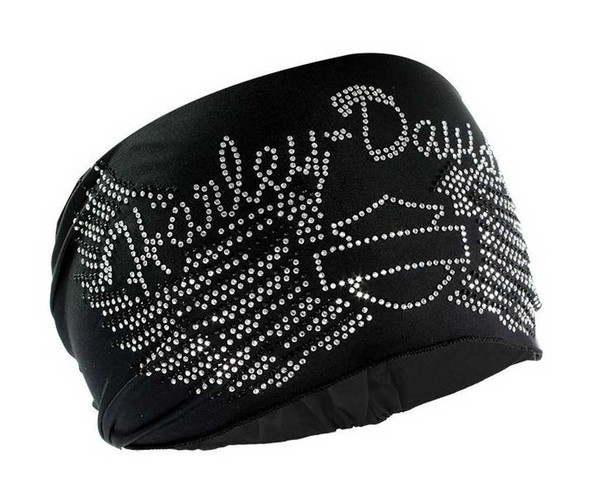 Harley-Davidson Women's Headband Scrunchie, Studded Bar & Shield Wings HE07430 - Wisconsin Harley-Davidson
