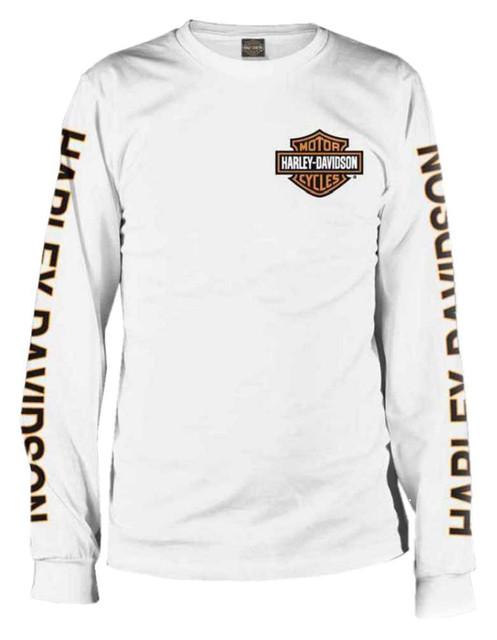 Harley-Davidson Men's Long Sleeve Orange Bar & Shield White Shirt 30291964 - Wisconsin Harley-Davidson