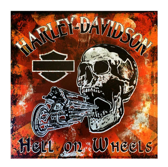Harley-Davidson Hell On Wheels Skull Biker Metal Sign, 18 x 18 Inch M10-HOW-HARL - Wisconsin Harley-Davidson