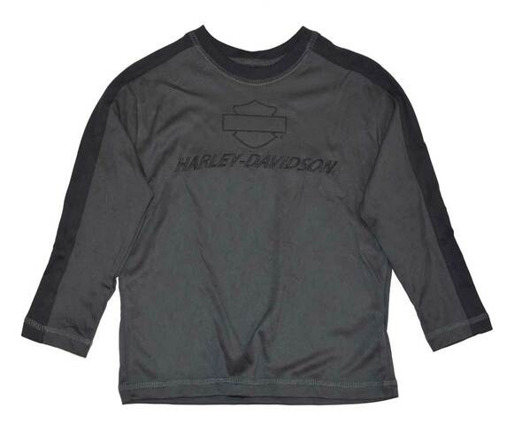 Harley-Davidson Little Boys' Performance Tech Long Sleeve Shirt, Gray 3381526 - Wisconsin Harley-Davidson
