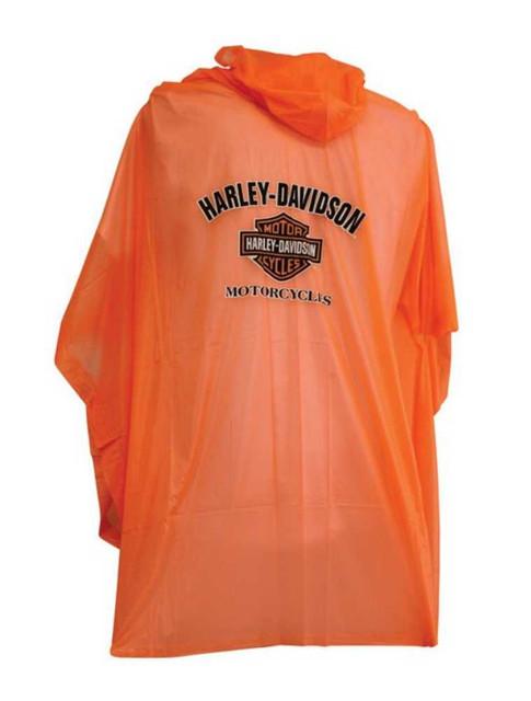 Harley-Davidson B&S Unisex Waterproof Rain Poncho W/ Hood - Orange RP30264 - Wisconsin Harley-Davidson